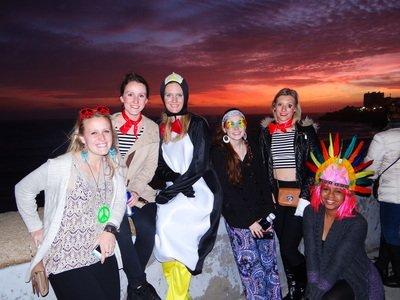 study abroad students enjoying the sunset at Cadiz Carnival Day Trip