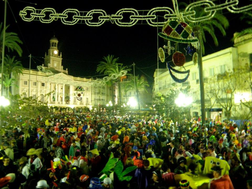 Festivities in the main square at Cadiz Carnival Day Trip