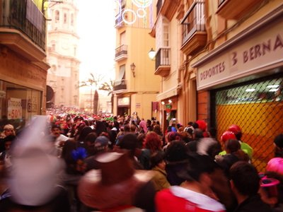 crowded streets on the Cadiz Carnival Day Trip
