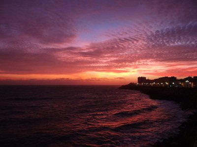 View of the sunset over Cadiz on the Carnival excursion